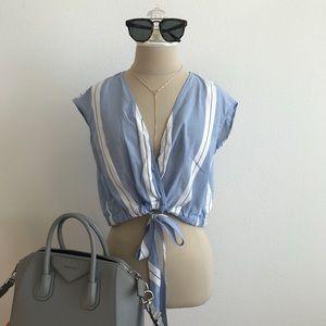 ZARA sleeveless deep v front tie shirt